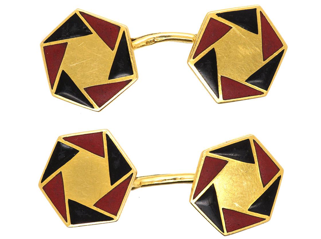 French Art Deco 18ct Gold, Red & Black Enamel Octagonal Cufflinks