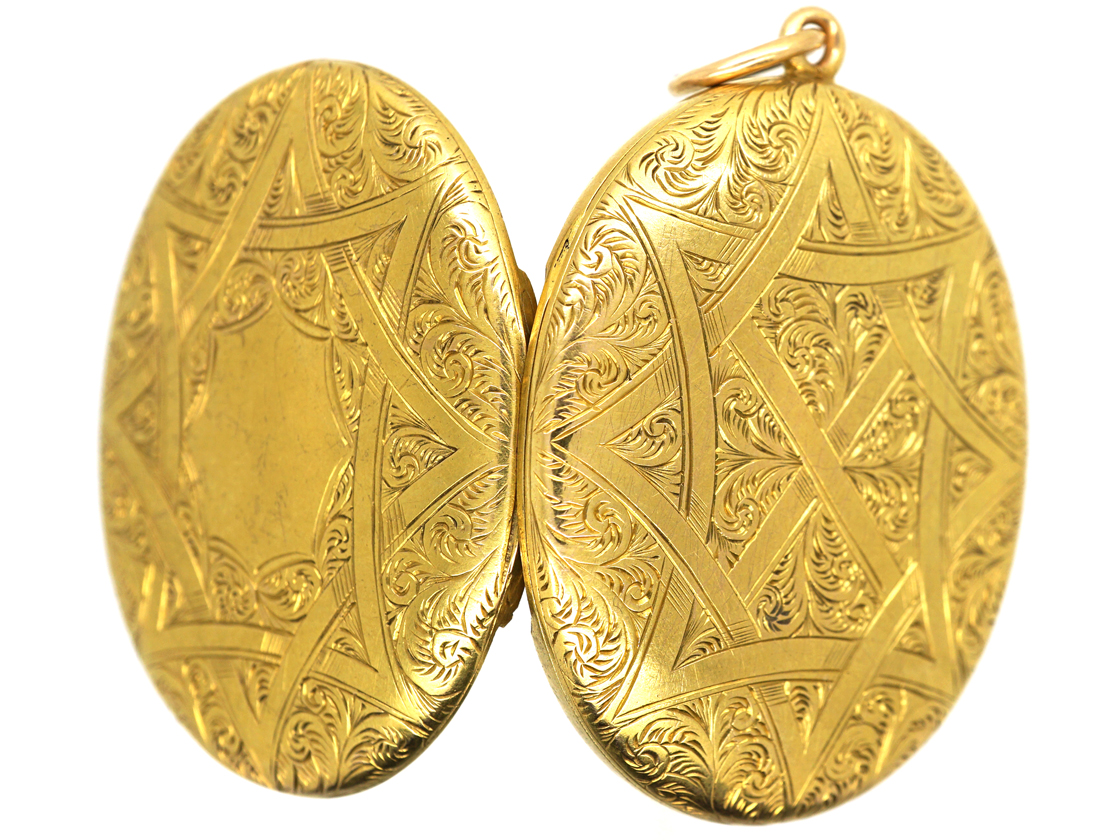 Victorian 15ct Gold Double Opening Oval Engraved Locket