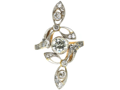 Art Nouveau 18ct Gold, Platinum & Diamond Ring