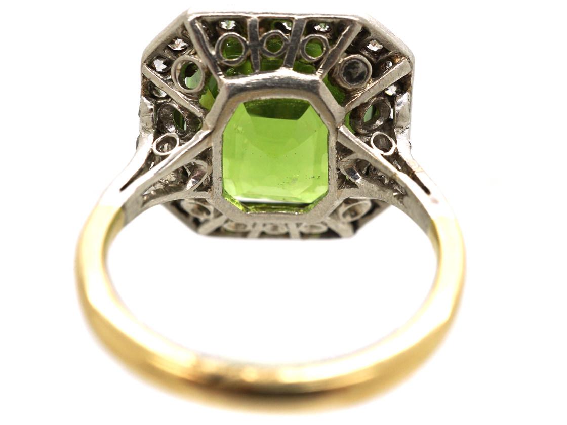 Art Deco 18ct Gold, Platinum & Peridot & Diamond Ring