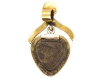 Victorian 15ct Gold, Black Enamel & Rose Diamond Heart Pendant