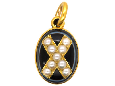Victorian 18ct Gold Onyx & Natural Split Pearl Pendant with Locket Back