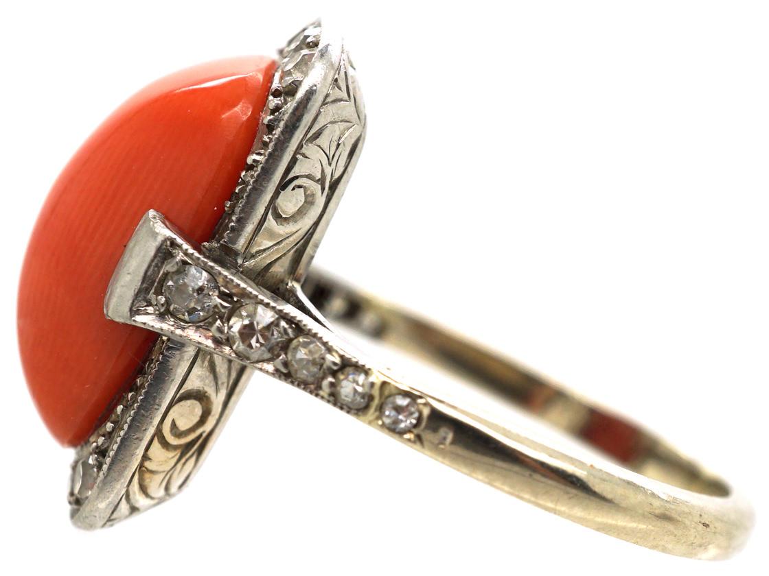 Art Deco Platinum & Coral & Diamond Ring