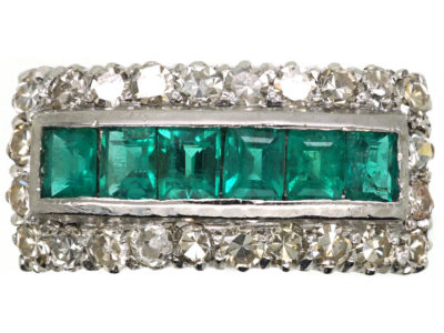 Art Deco 18ct White Gold, Emerald & Diamond Rectangular Ring