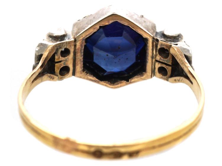 Art Deco 18ct Yellow & White Gold, Synthetic Sapphire & Diamond Ring