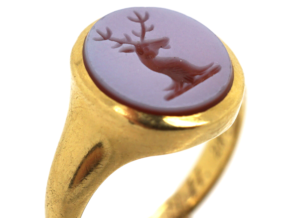 18ct Gold & Carnelian Signet Ring with Stag Intaglio