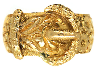 Edwardian 18ct Gold Buckle Ring