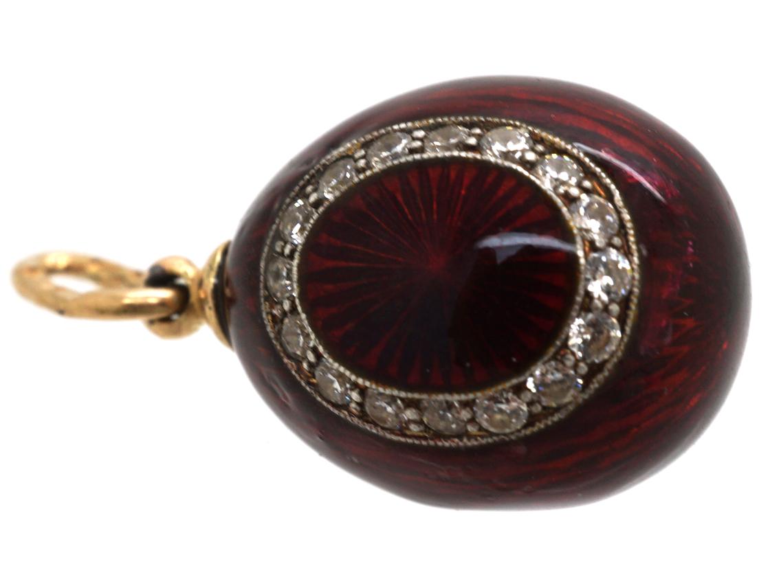 Red Enamel & Diamond Egg Pendant
