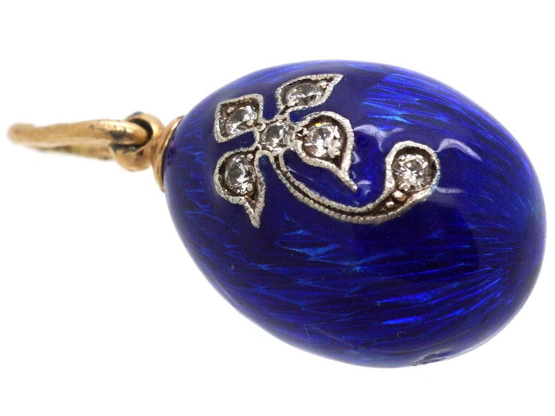 Austrian 14ct Gold & Blue Enamel & Diamond Egg Pendant