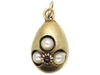 Edwardian Silver Gilt Egg Pendant set with Pearls & a Garnet