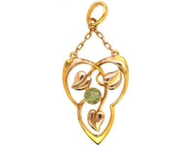Art Nouveau 9ct Gold & Peridot Pendant by Barnett Henry Joseph
