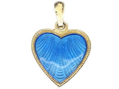 Silver Gilt & Blue Enamel Heart Pendant