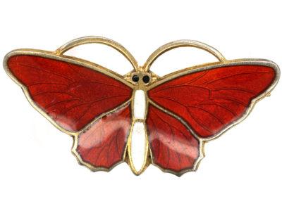 Norwegian Silver Gilt & Red Enamel Butterfly Brooch by Aksel Holmsen