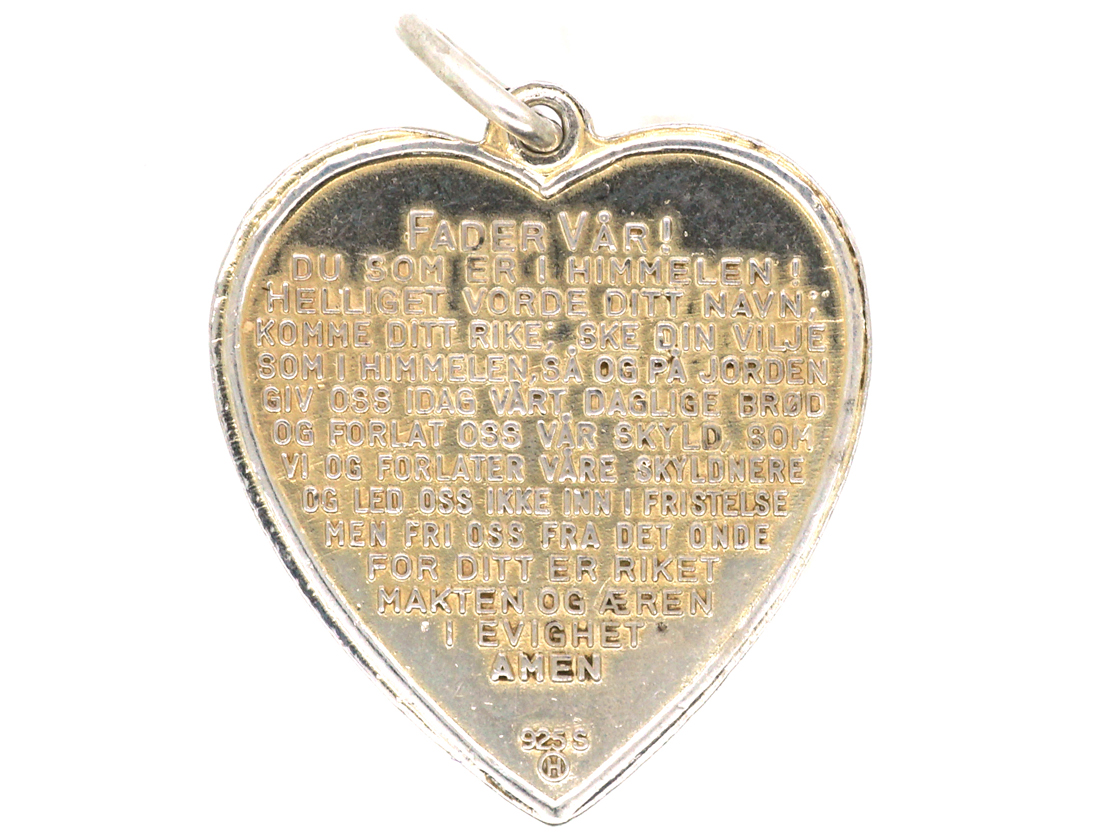 Norwegian Silver Heart Pendant with Enamel Rose by Ivar T  Holth