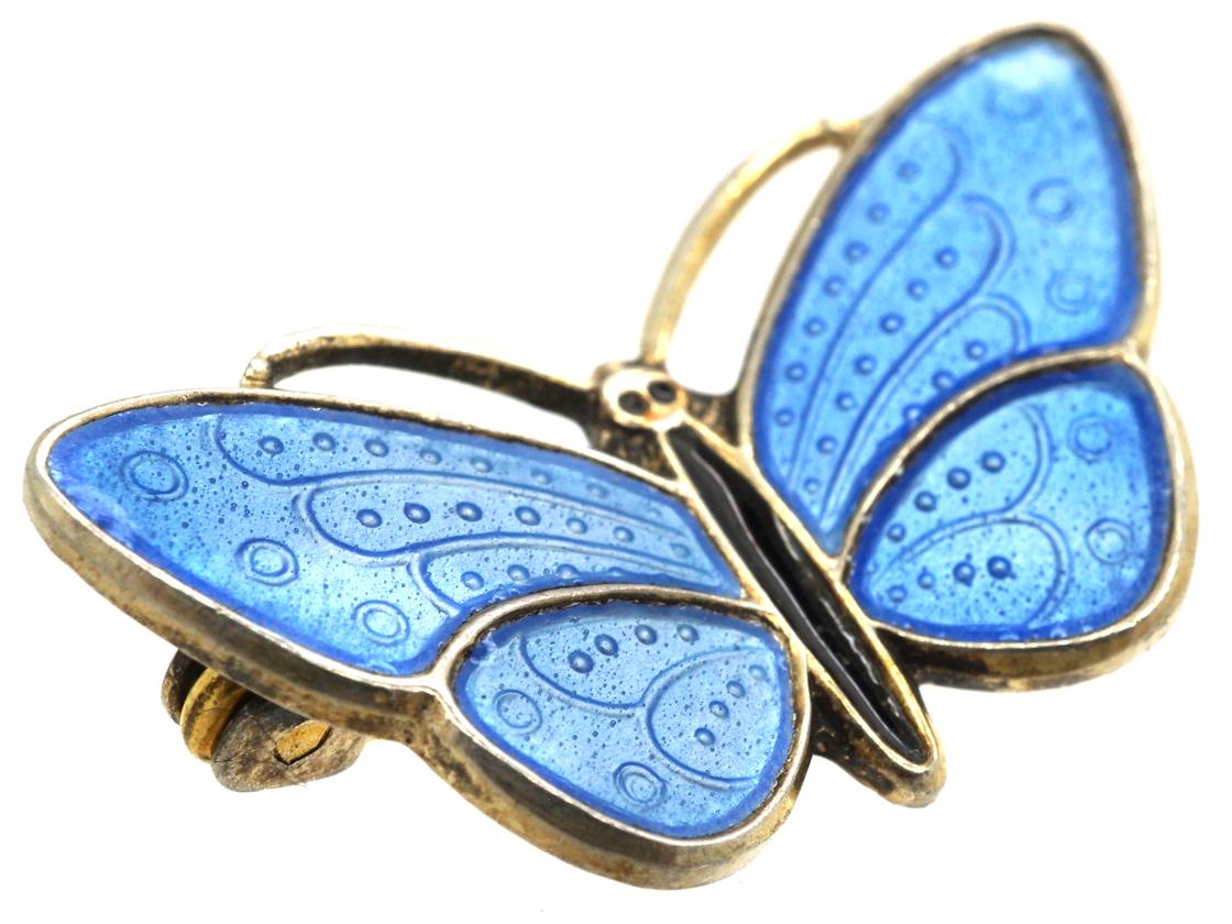 Norwegian Silver Gilt & Blue & Black Enamel Butterfly Brooch by Aksel Holmsen