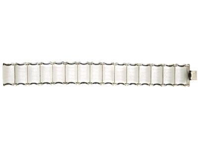 Norwegian Silver & White & Black Enamel Bracelet by Einar Modahl