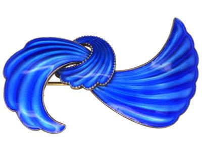 Norwegian Silver Gilt Blue Enamel Bow Brooch by Elvik & Co