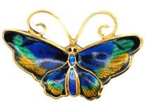 Norwegian Silver Gilt & Enamel Butterfly Brooch by David Andersen
