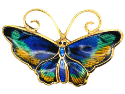 Norwegian Silver Gilt & Enamel Butterfly Brooch by David Andersen