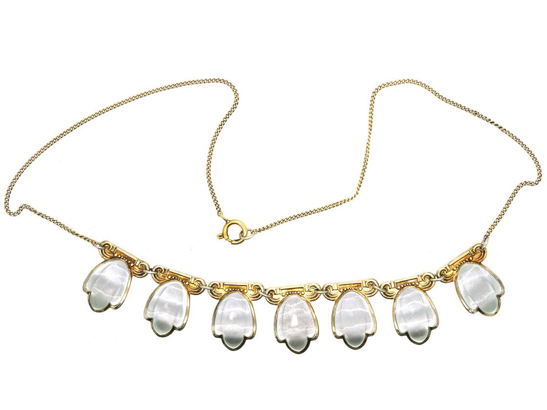 Art Deco Norwegian Silver Gilt & White Enamel Necklace by Andresen & Scheinpflug