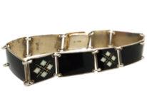 Norwegian Silver, Black & White Enamel Bracelet by Bernard Meldahl