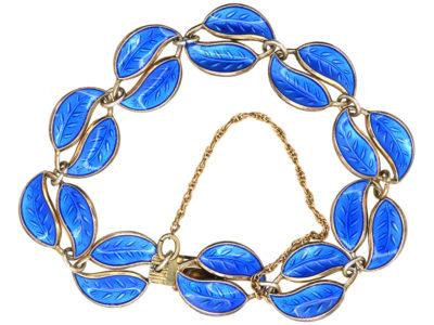 Norwegian Silver & Blue Enamel Leaf Bracelet by Willy Winnaess for David Andersen