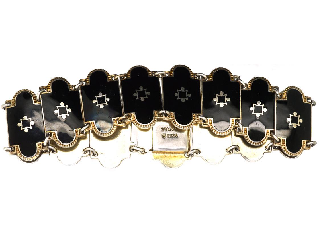 Norwegian Silver Gilt & Black Enamel Bracelet by Bernard Meldahl