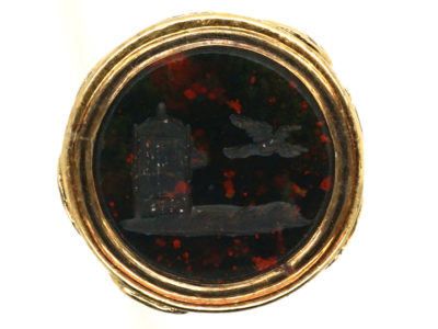 Regency Small 15ct Gold Cased Seal with Bloodstone Intaglio of a Bird Flying out of Cage