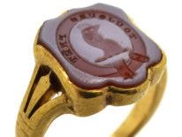 Victorian 18ct Gold & Carnelian Signet Ring with Cockerel Intaglio