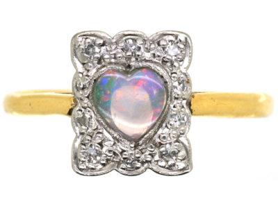 Edwardian 18ct Gold, Platinum, Heart Shaped Opal & Diamond Ring
