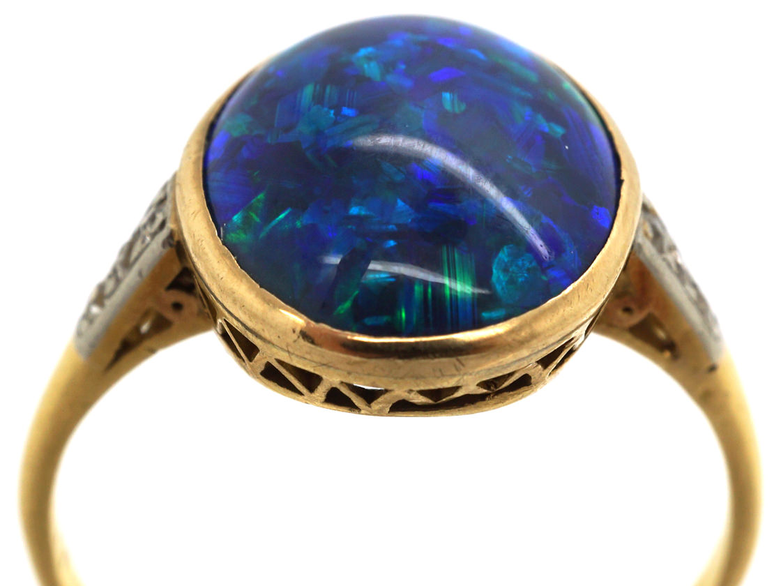 Art Deco 18ct Gold, Black Opal & Diamond Ring