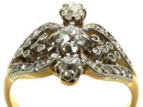 Edwardian 18ct Gold & Platinum, Three Stone Diamond Ornate Ring