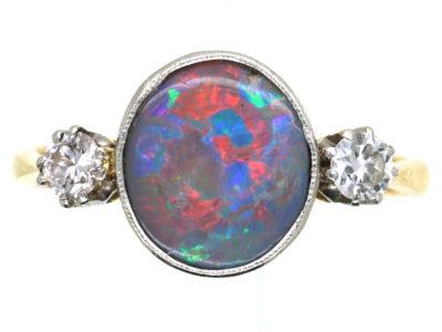 Art Deco 18ct Gold & Platinum, Black Opal & Diamond Ring