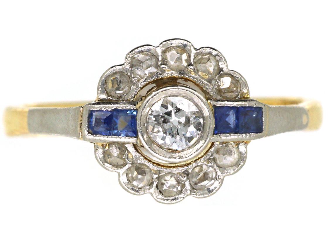 Art Deco 18ct Gold & Platinum, Sapphire & Diamond Ring