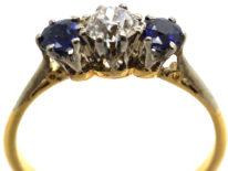 Art Deco 18ct Gold & Platinum Sapphire & Diamond Three Stone Ring
