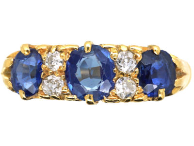 Edwardian 18ct Gold, Diamond & Sapphire Three Stone Carved Half Hoop Ring