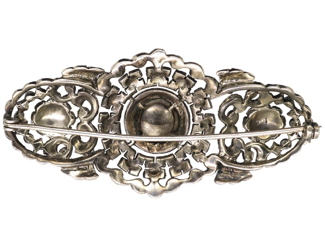 Art Deco Silver, Coral & Marcasite Brooch