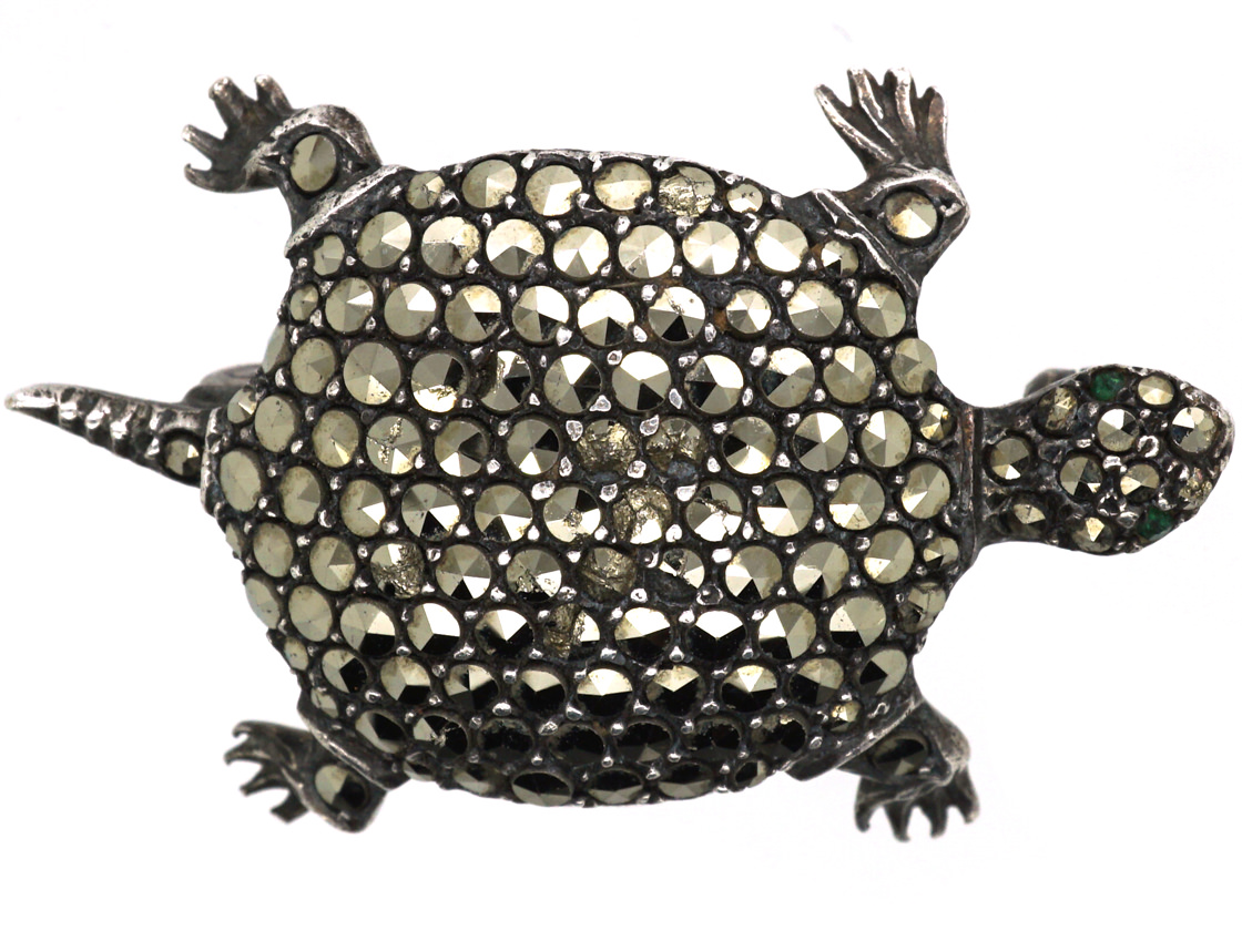 Silver & Marcasite Tortoise Brooch