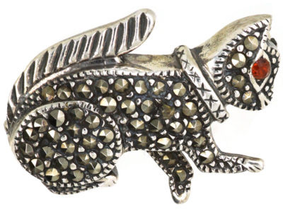 Silver & Marcasite Squirrel Brooch