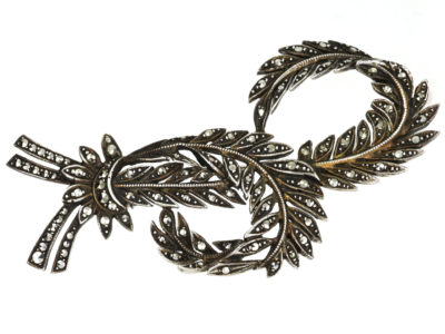 Art Deco Silver & Marcasite Double Feather Brooch
