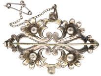Silver, Marcasite & Faux Pearl Brooch