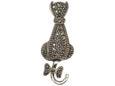 Silver & Marcasite Cat Brooch