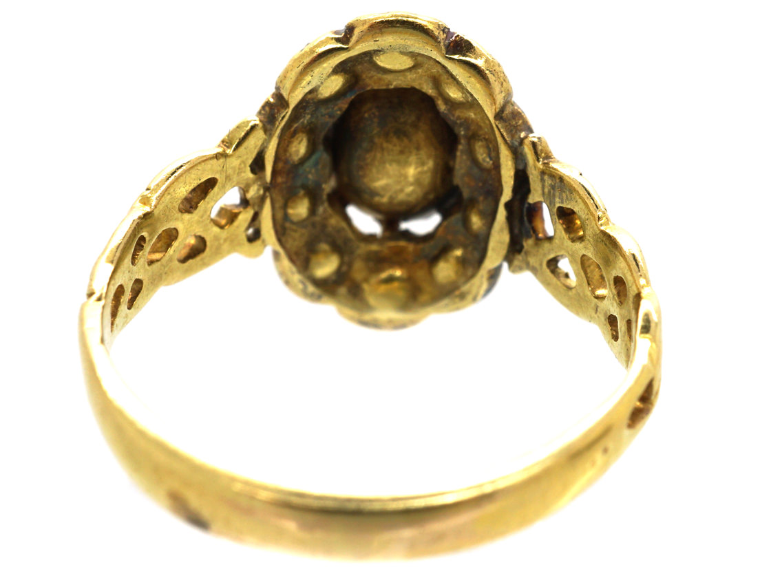 Victorian 18ct Gold & Rose Diamond Oval Cluster Ring with Pierced Shoulders