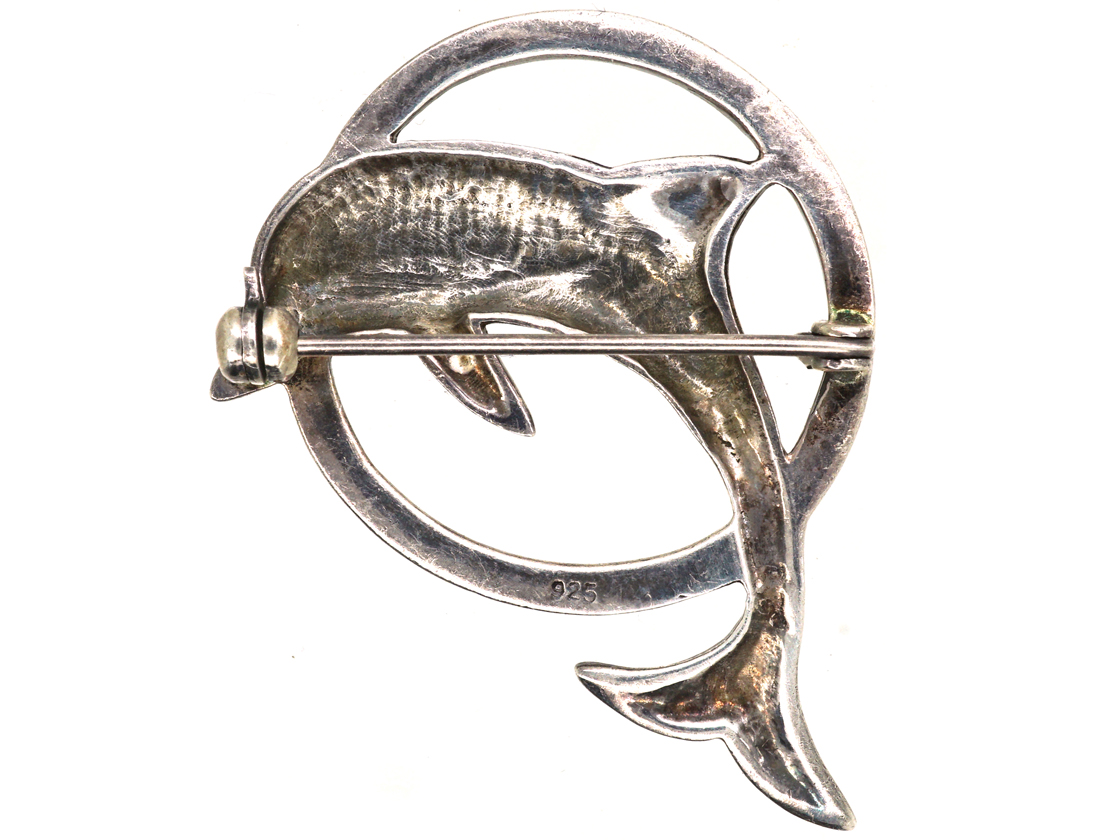 Silver & Marcasite Dolphin Jumping Through Hoop Brooch