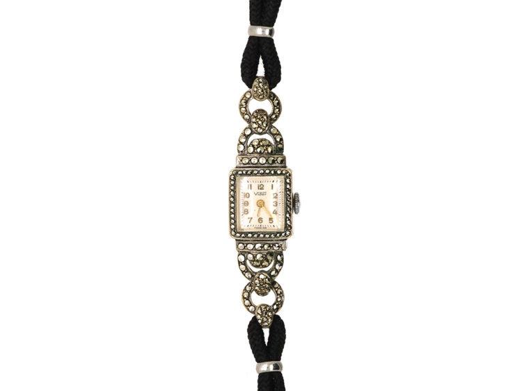 Art Deco Silver & Marcasite Watch