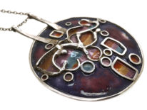 Silver & Enamel Pendant on Silver Chain by Norman Grant