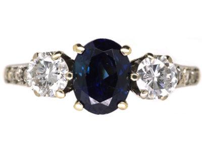 18ct Gold Sapphire & Diamond Three Stone Ring with Diamond Set Shoulders