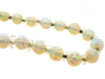 Edwardian Graduated Opal Bead Necklace with 9ct White Gold Clasp
