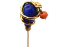 Victorian 18ct Gold , Lapis Lazuli & Coral Snake Tie Pin