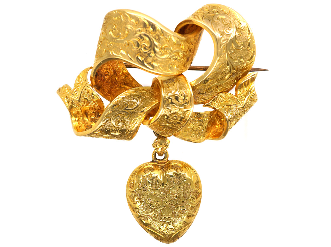 Victorian 15ct Gold Bow Brooch with Heart Drop